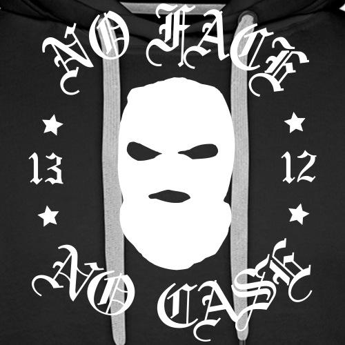 No Face, No Case - Skimask - valkoinen iso printti - Miesten premium-huppari