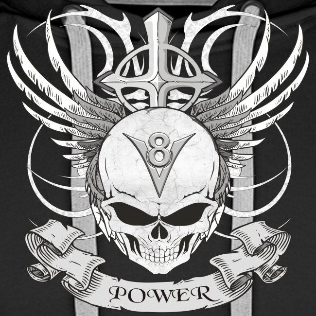 V8 Logo mit Skull im Tattoo Design