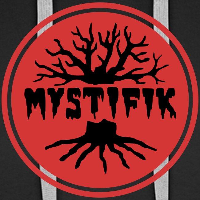 sort logo på rød baggrund med rød ring