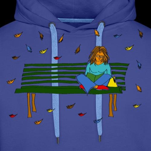 Reading in Fall - Felpa con cappuccio premium da uomo