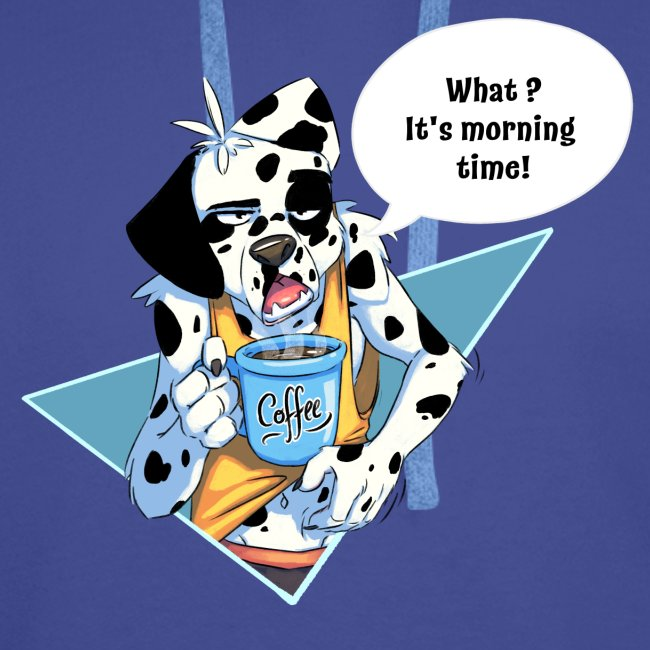Dalmatian with his morning coffee
