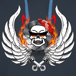 Skull Wings Flames horns flask glasses - Men's Premium Hoodie