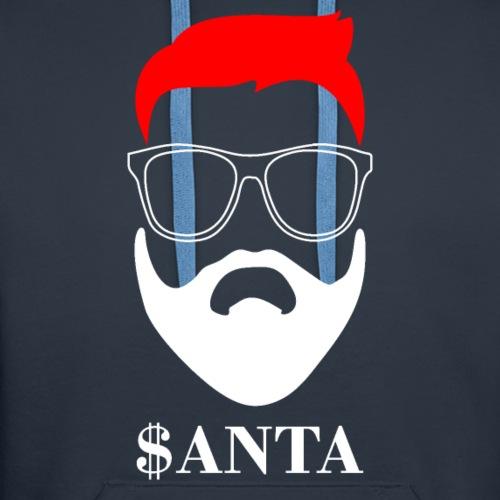 Hipster Style Santa Glasses Hair Beard Tee Shirt - Men's Premium Hoodie