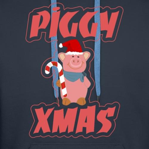 cute piggy xmas pig tee shirt christmas - Men's Premium Hoodie