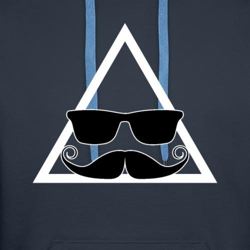 Stylish Hipster Triangle Mustache Glasses T Shirt - Men's Premium Hoodie