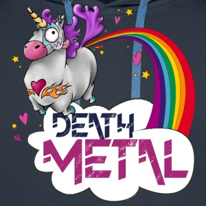Death Metal Unicorn - Sweat-shirt à capuche Premium pour hommes