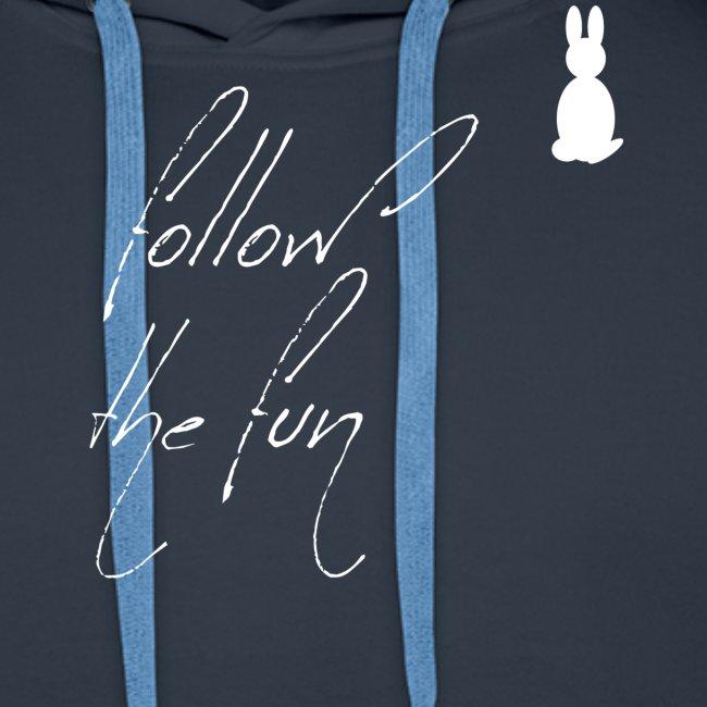 Follow the fun white rabbit Merry Christmas