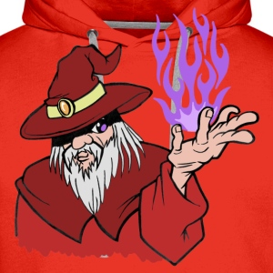 Viljestyrke Wizard Red / Purple Flame - Ingen tekst - Premium hettegenser for menn