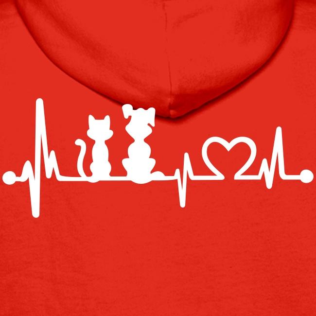 Vorschau: dog cat heartbeat - Männer Premium Hoodie