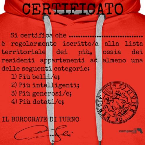 1.07 Certificato Piu Adulti (Aggiungi nome) - Felpa con cappuccio premium da uomo
