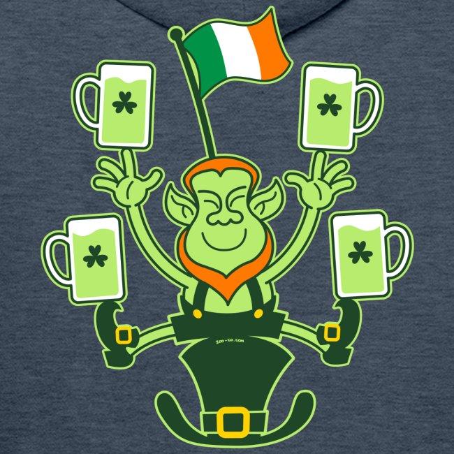 Leprechaun Juggling Beers and Irish Flag
