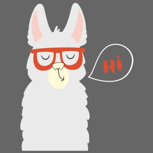 Llama with red glasses (white) - Herre Premium hættetrøje