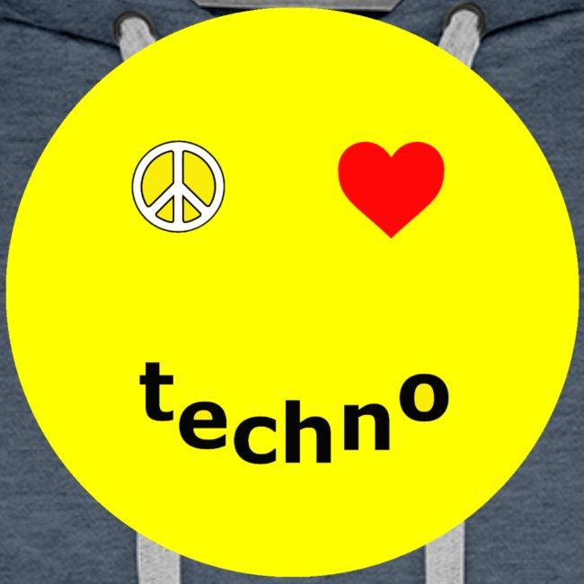 camiseta paz amor techno