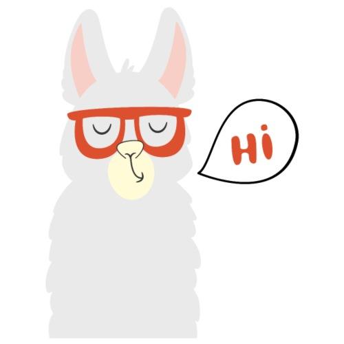Llama with red glasses (black) - Herre Premium hættetrøje