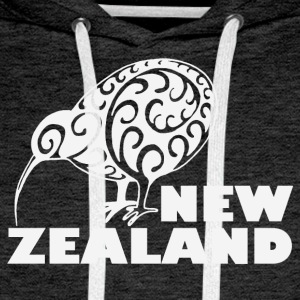 New Zealand: Kiwi with lettering in white - Men's Premium Hoodie