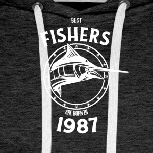 Present for fishers born in 1987 - Men's Premium Hoodie