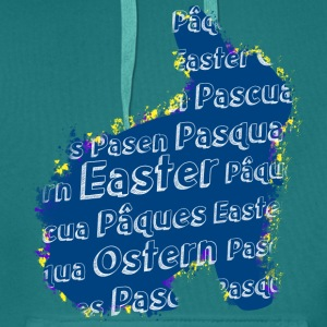 Easter bunny with Easter in different languages - Men's Premium Hoodie