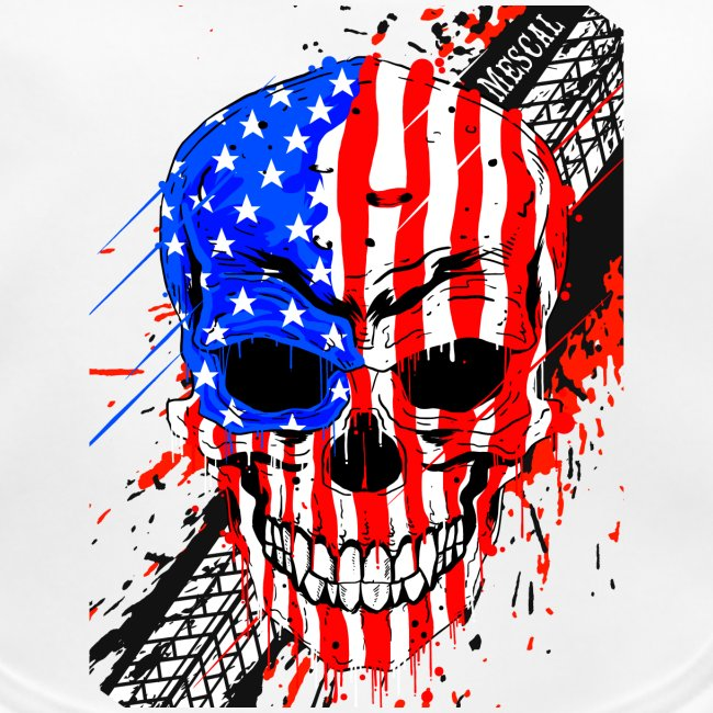 Teschio USA su splatter gomma moto by Mescal