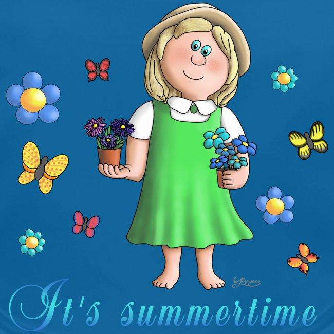 Summertime - Blumen Mädchen Schmetterling