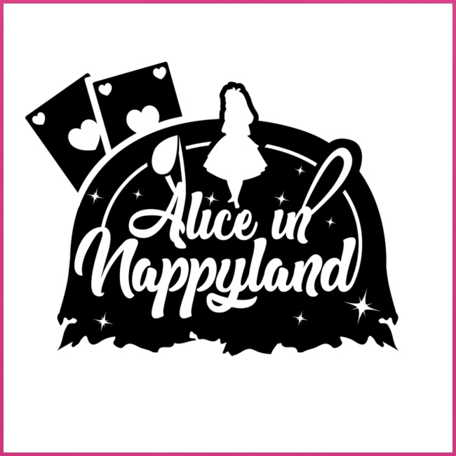 Alice in Nappyland TypographyWhite with background