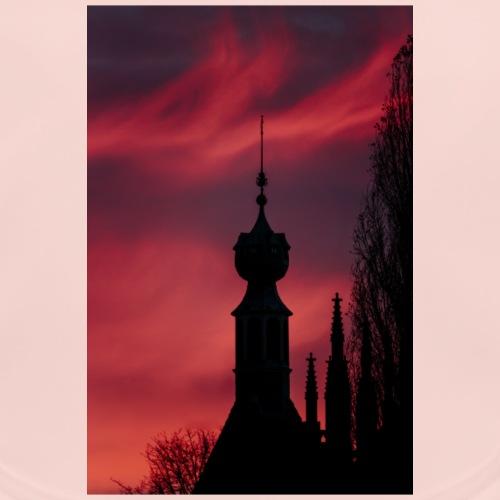 Roze en Paarse lucht met silhouette gebouw - Bio-slabbetje voor baby's