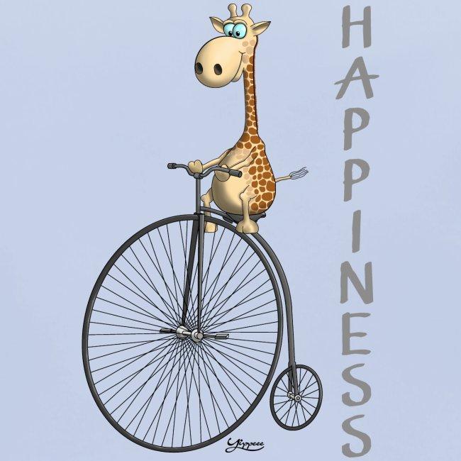 Happiness - Fröhliche Giraffe am Rad
