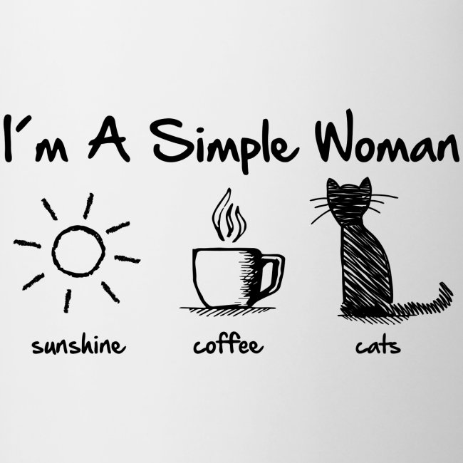 simple woman cats - Tasse zweifarbig