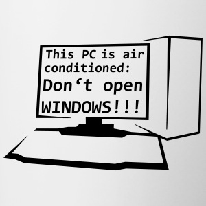 This PC is air conditioned: Do not open WINDOWS! - Contrasting Mug