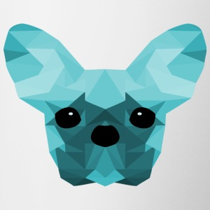 cyan Bulldog Low Poly design français - Tasse bicolore