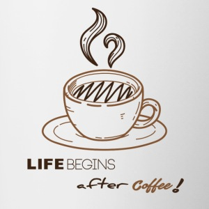 life begins after coffee - Tasse bicolore