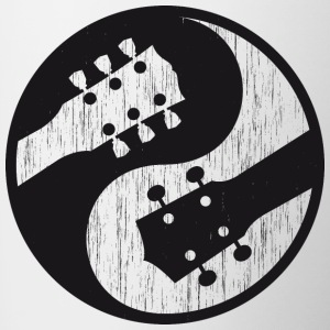 Electric guitar vs ukulele yinyang worn - Contrasting Mug