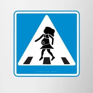 Traffic sign: Pregnancy blue / pregnancy blue - Contrasting Mug