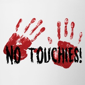 No Touchies 2 Bloody Hands Behind Black Text - Contrasting Mug