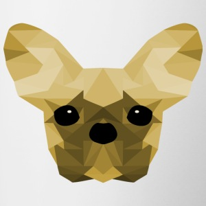Français jaune Bulldog Low Poly design - Tasse bicolore