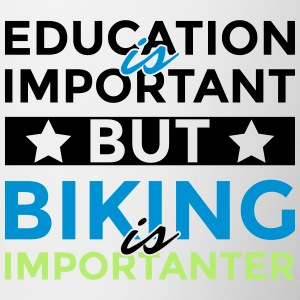 Education is important but biking is importanter - Contrasting Mug