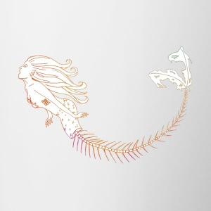 Mermaid Orange Outline - Mok tweekleurig