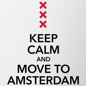 keep calm move to Amsterdam Holland Kreuz Cross - Tasse zweifarbig