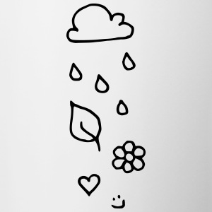 Cloud rain heart leaf flower smiley face - Contrasting Mug