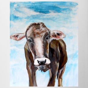 Cow calf Face view painting acrylic frontal - Contrasting Mug