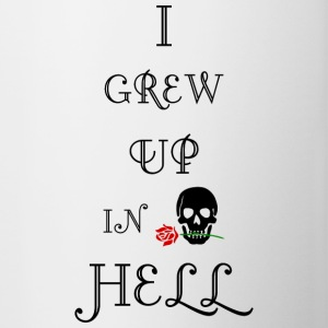 Jeg GREW UP I HELL biker skull tatovering t shirt - Tofarvet krus