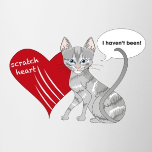 Cat with scratched heart - Contrasting Mug