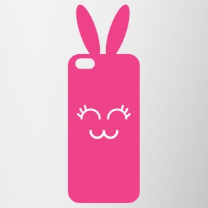 Pink Rabbit Phone Graphic - Contrasting Mug