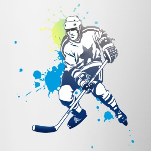 hockey splatter hockey player puck attack cool - Contrasting Mug