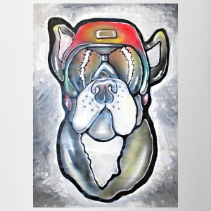 Bulldog - Dog with helmet and sunglasses - Contrasting Mug