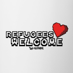 Refugees Welcome Pixel Design - Contrasting Mug