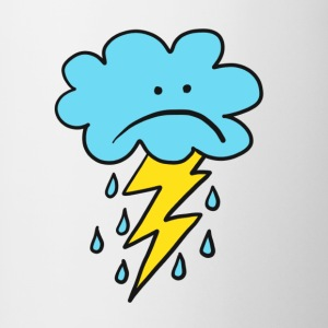 Angry Cloud, flash, raindrop, weather, funny, rain - Contrasting Mug