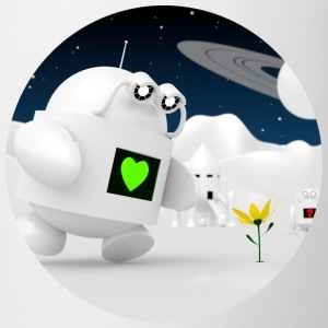 Cute robot finds flowers - Contrasting Mug