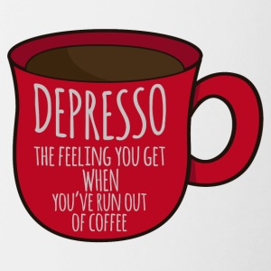 Kaffee: Depresso - the feeling you get when ... - Tasse zweifarbig