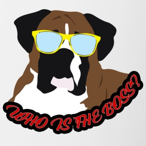 Hund / Boxer: Who is the Boss? - Tasse zweifarbig