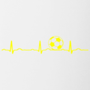 ECG HEARTBEAT le football jaune - Tasse bicolore